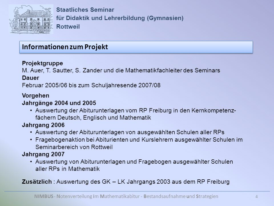 Staatliches Seminar für Didaktik und Lehrerbildung (Gymnasien) Rottweil NIMBUS - Notenverteilung im Mathematikabitur - Bestandsaufnahme und Strategien Informationen zum Projekt 4 Projektgruppe M.