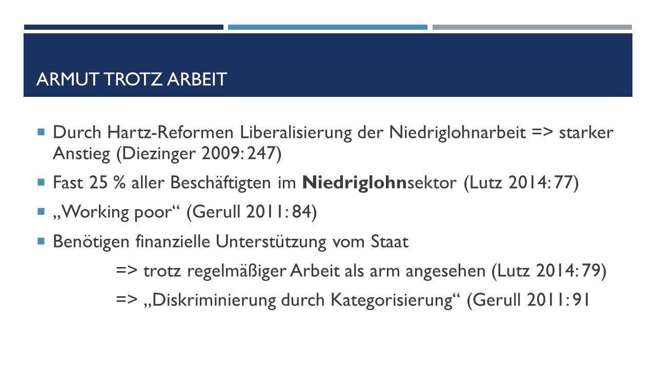 """ARMUT TROTZ ARBEIT  Durch Hartz-Reformen Liberalisierung der Niedriglohnarbeit => starker Anstieg (Diezinger 2009: 247)  Fast 25 % aller Beschäftigten im Niedriglohnsektor (Lutz 2014: 77)  """"Working poor (Gerull 2011: 84)  Benötigen finanzielle Unterstützung vom Staat => trotz regelmäßiger Arbeit als arm angesehen (Lutz 2014: 79) => """"Diskriminierung durch Kategorisierung (Gerull 2011: 91"""
