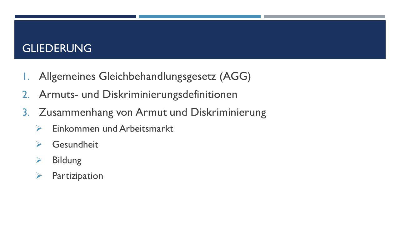 GLIEDERUNG 1. Allgemeines Gleichbehandlungsgesetz (AGG) 2.