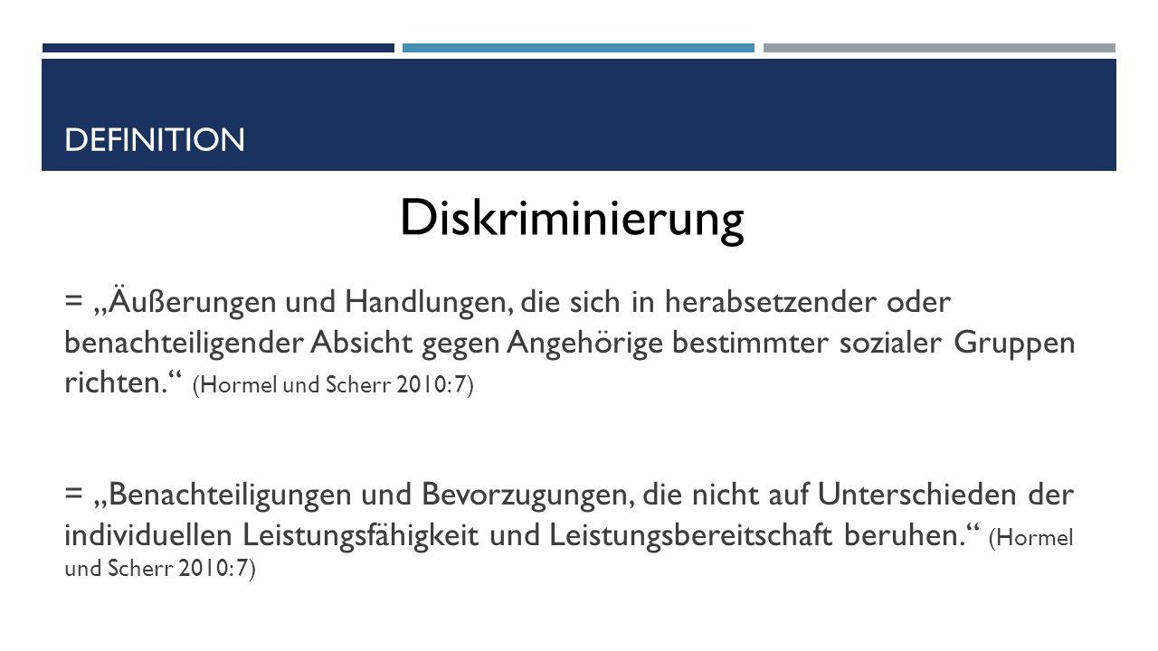 """DEFINITION = """"Äußerungen und Handlungen, die sich in herabsetzender oder benachteiligender Absicht gegen Angehörige bestimmter sozialer Gruppen richten. (Hormel und Scherr 2010: 7) = """"Benachteiligungen und Bevorzugungen, die nicht auf Unterschieden der individuellen Leistungsfähigkeit und Leistungsbereitschaft beruhen. (Hormel und Scherr 2010: 7) Diskriminierung"""