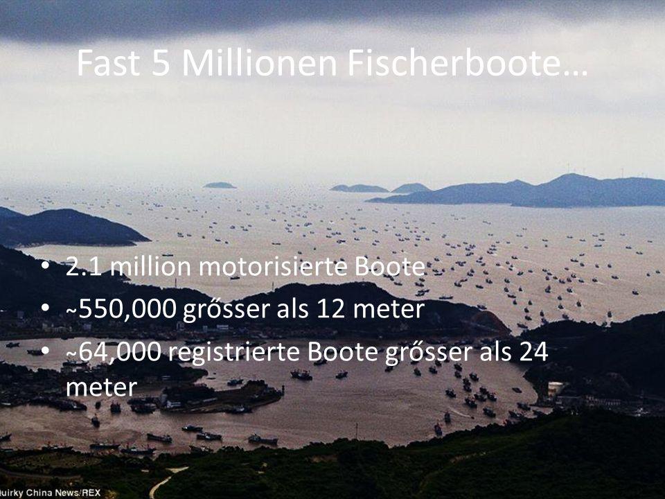 Fast 5 Millionen Fischerboote… 2.1 million motorisierte Boote ̴550,000 grősser als 12 meter ̴64,000 registrierte Boote grősser als 24 meter