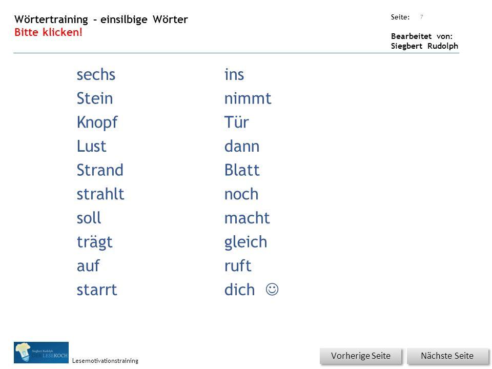 Übungsart: Seite: Bearbeitet von: Siegbert Rudolph Lesemotivationstraining Lesequatsch Bitte klicken.