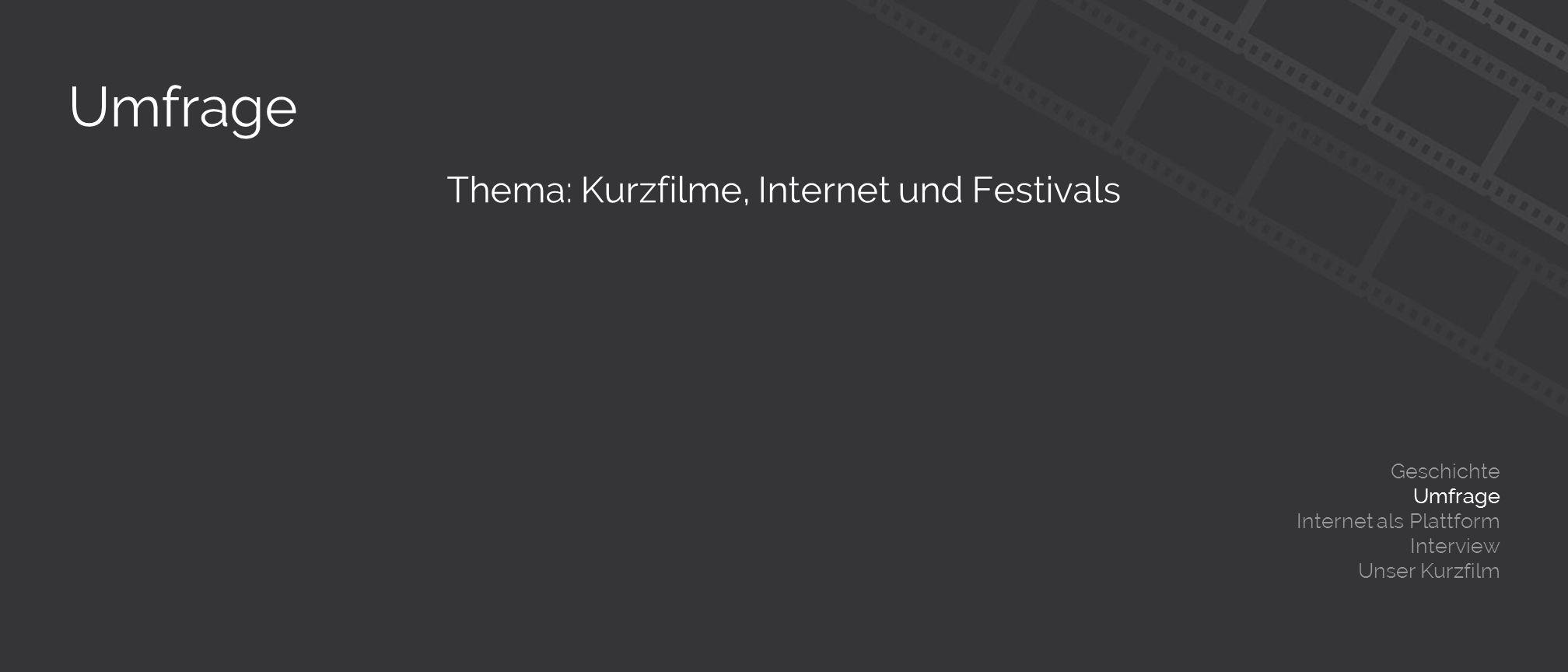 Umfrage Thema: Kurzfilme, Internet und Festivals Geschichte Umfrage Internet als Plattform Interview Unser Kurzfilm