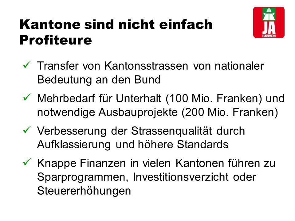 Kantone sind nicht einfach Profiteure Transfer von Kantonsstrassen von nationaler Bedeutung an den Bund Mehrbedarf für Unterhalt (100 Mio.
