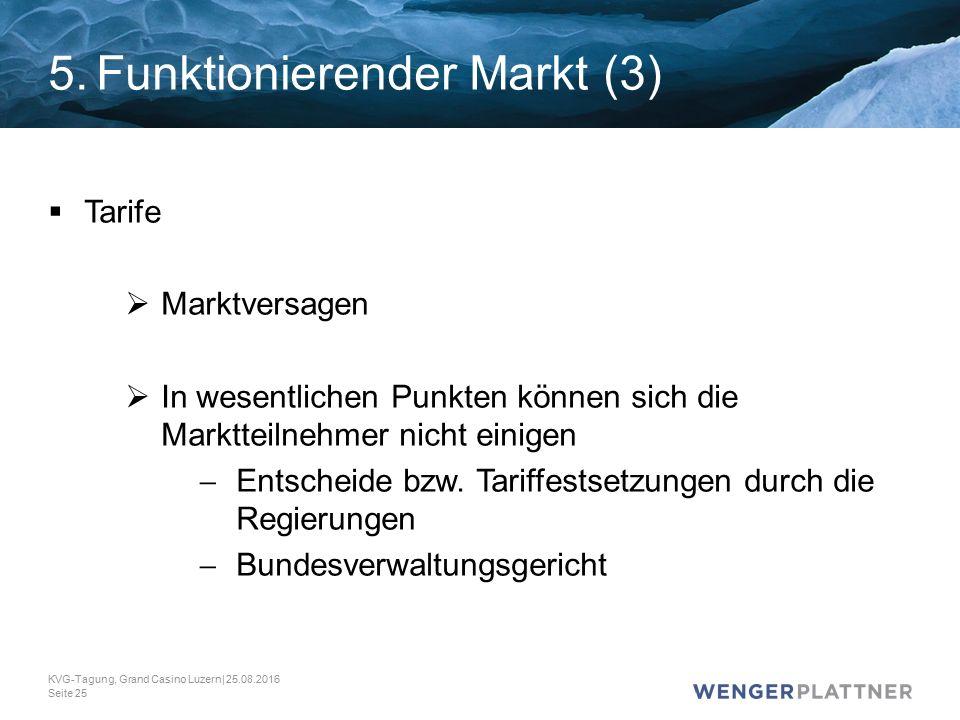 5.Funktionierender Markt (3)  Tarife  Marktversagen  In wesentlichen Punkten können sich die Marktteilnehmer nicht einigen  Entscheide bzw.