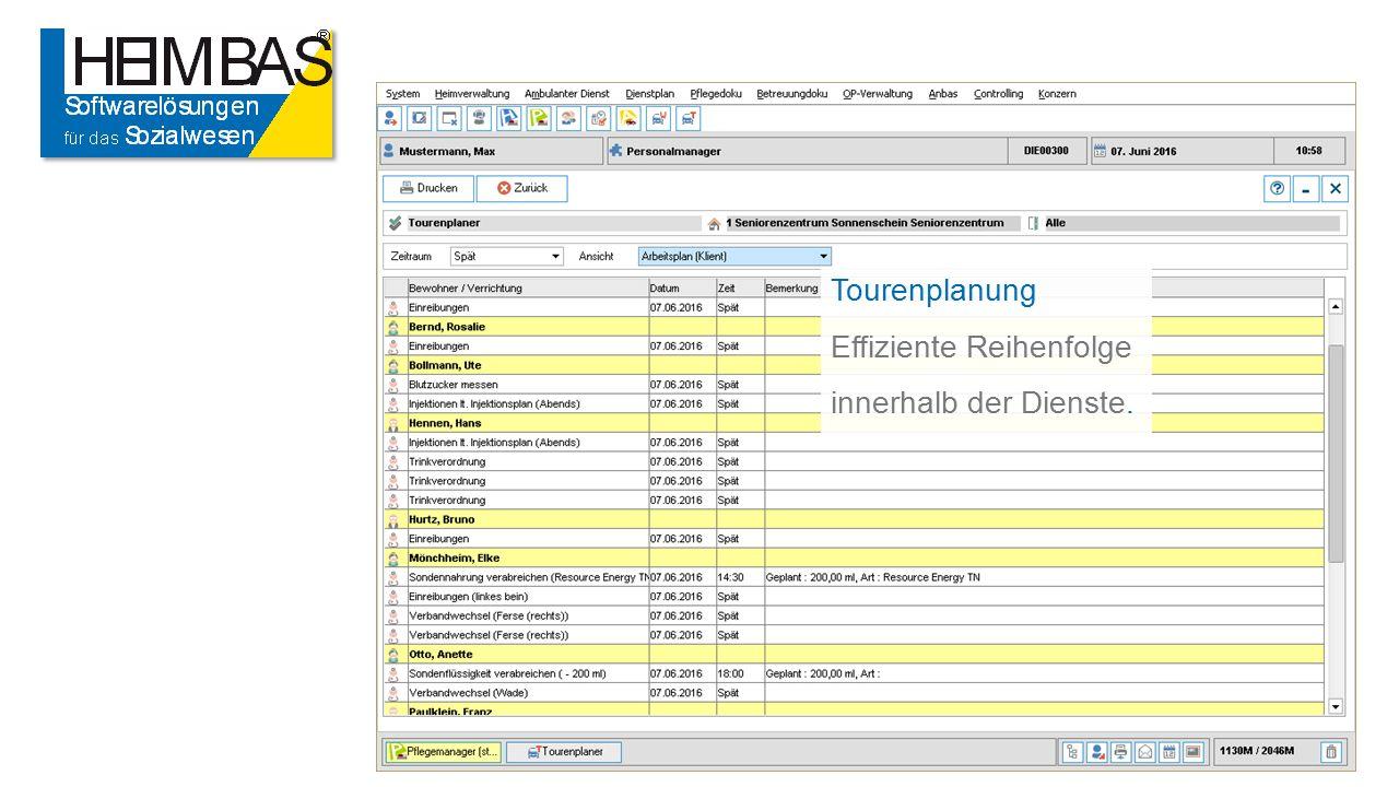Tourenplanung Effiziente Reihenfolge innerhalb der Dienste.