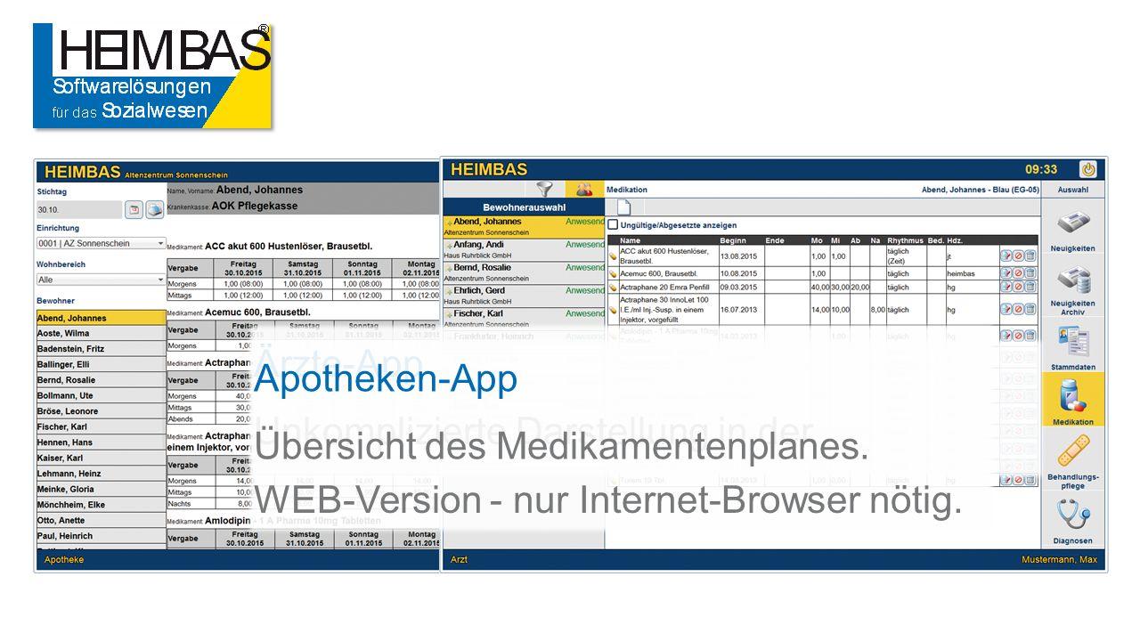 Ärzte-App Unkomplizierte Darstellung in der WEB-Version - nur Internet-Browser nötig.