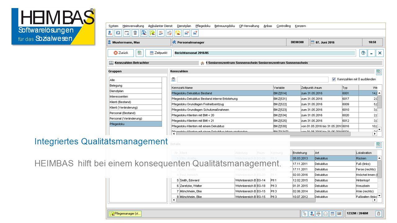 Integriertes Qualitätsmanagement HEIMBAS hilft bei einem konsequenten Qualitätsmanagement.