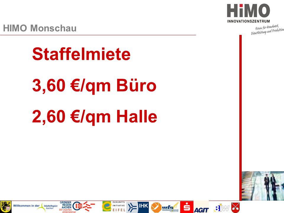 Wirtschaftsausschuss 2008 Staffelmiete 3,60 €/qm Büro 2,60 €/qm Halle HIMO Monschau