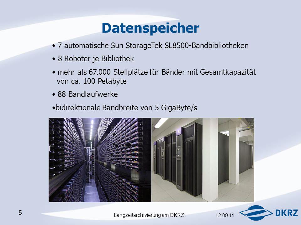 Langzeitarchivierung am DKRZ 12.09.11 5 Datenspeicher 7 automatische Sun StorageTek SL8500-Bandbibliotheken  8 Roboter je Bibliothek mehr als 67.000 Stellplätze für Bänder mit Gesamtkapazität von ca.