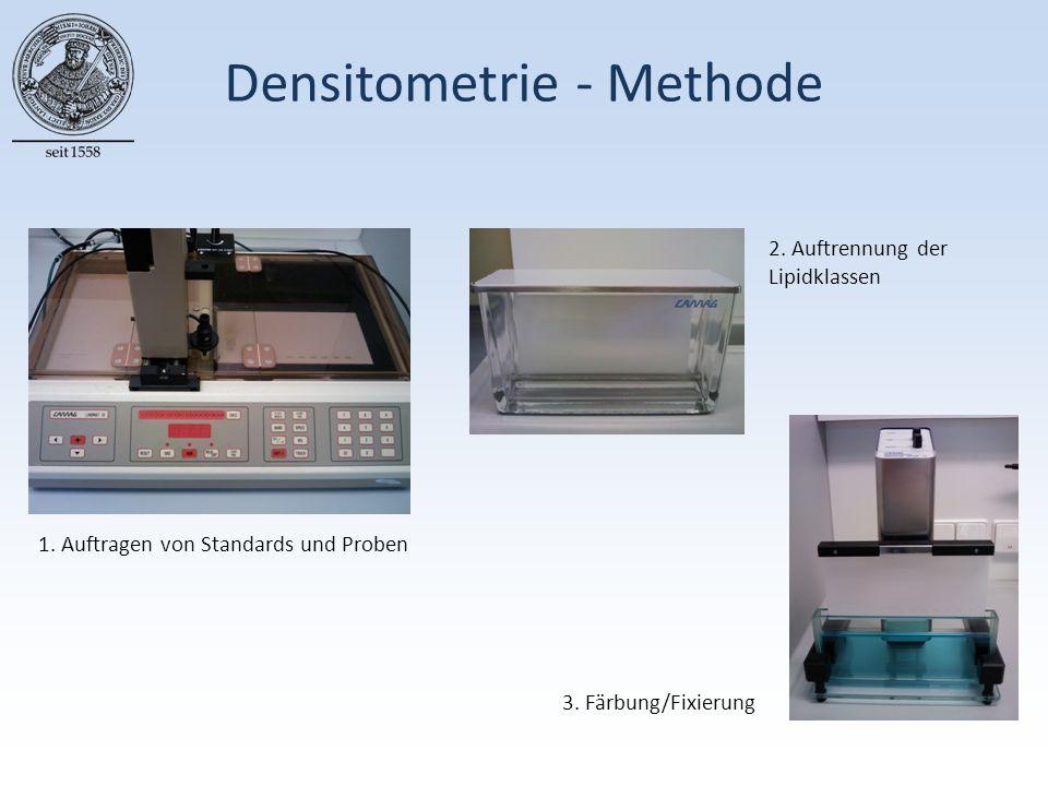 Densitometrie - Methode 1. Auftragen von Standards und Proben 2.