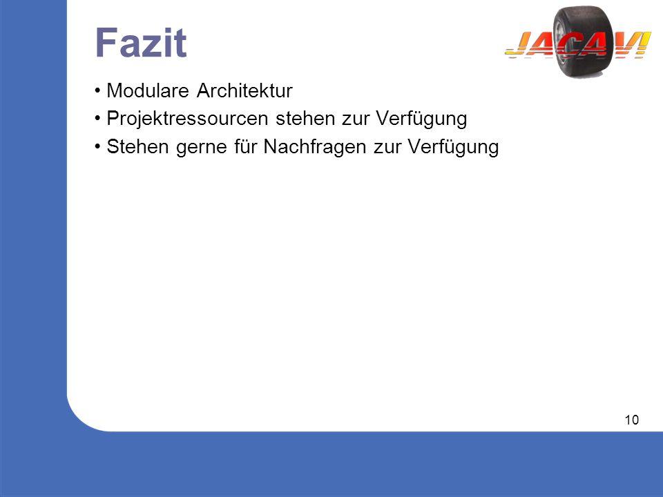 10 Fazit Modulare Architektur Projektressourcen stehen zur Verfügung Stehen gerne für Nachfragen zur Verfügung