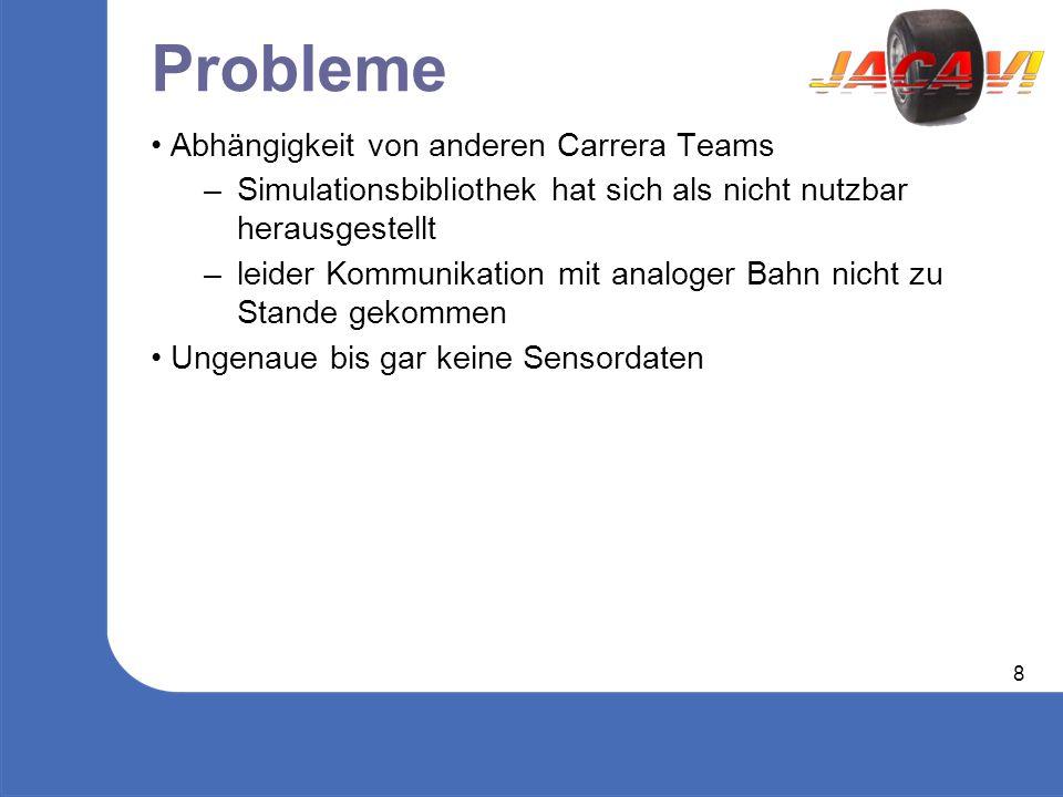 8 Probleme Abhängigkeit von anderen Carrera Teams – Simulationsbibliothek hat sich als nicht nutzbar herausgestellt – leider Kommunikation mit analoger Bahn nicht zu Stande gekommen Ungenaue bis gar keine Sensordaten