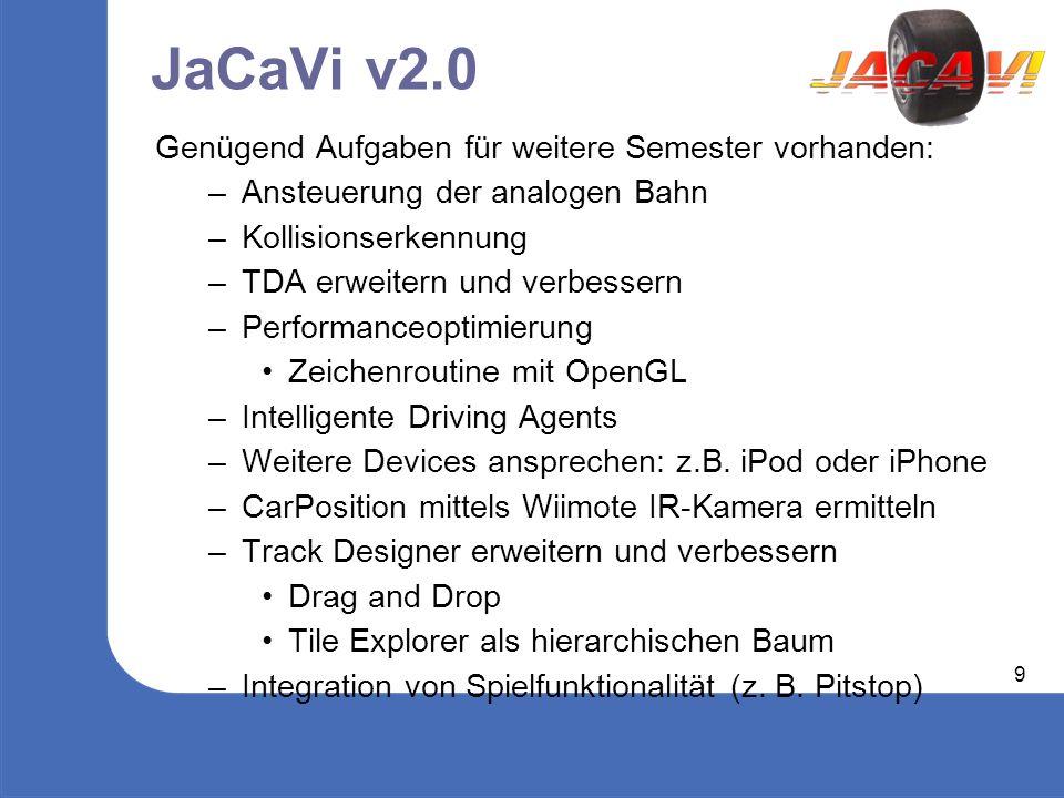 9 JaCaVi v2.0 Genügend Aufgaben für weitere Semester vorhanden: – Ansteuerung der analogen Bahn – Kollisionserkennung – TDA erweitern und verbessern – Performanceoptimierung Zeichenroutine mit OpenGL – Intelligente Driving Agents – Weitere Devices ansprechen: z.B.