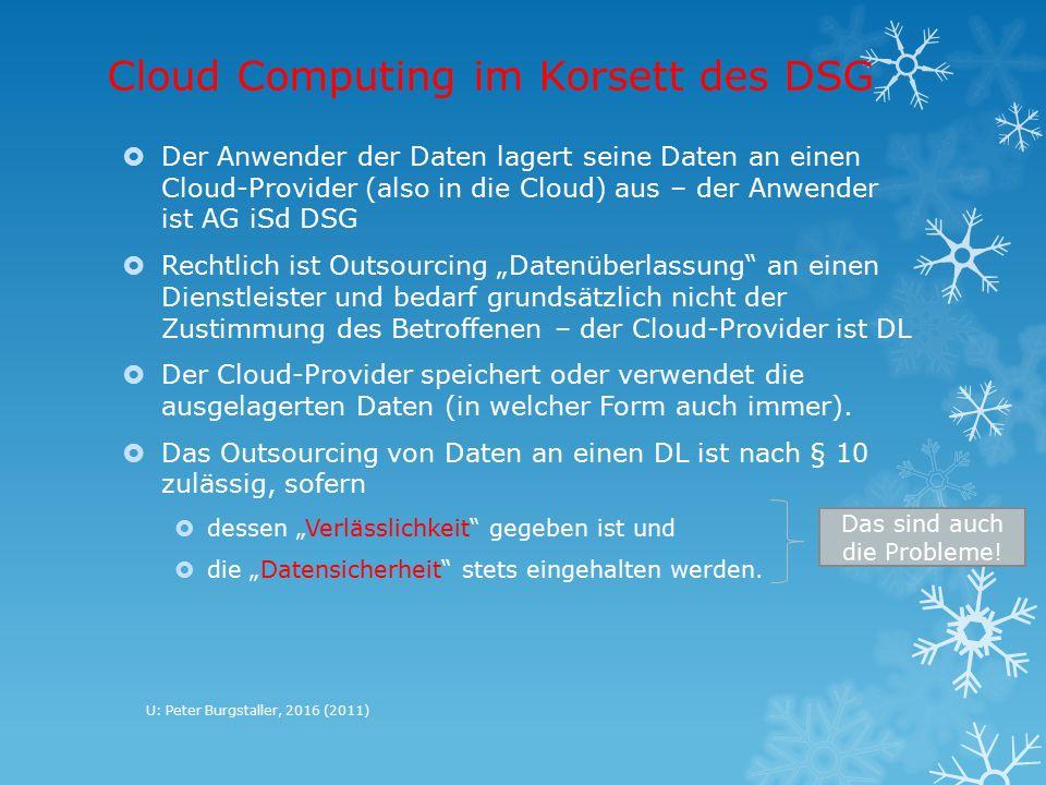 """Cloud Computing im Korsett des DSG  Der Anwender der Daten lagert seine Daten an einen Cloud-Provider (also in die Cloud) aus – der Anwender ist AG iSd DSG  Rechtlich ist Outsourcing """"Datenüberlassung an einen Dienstleister und bedarf grundsätzlich nicht der Zustimmung des Betroffenen – der Cloud-Provider ist DL  Der Cloud-Provider speichert oder verwendet die ausgelagerten Daten (in welcher Form auch immer)."""