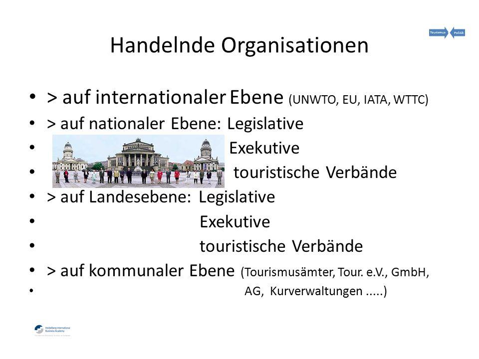Handelnde Organisationen > auf internationaler Ebene (UNWTO, EU, IATA, WTTC) > auf nationaler Ebene: Legislative Exekutive touristische Verbände > auf Landesebene: Legislative Exekutive touristische Verbände > auf kommunaler Ebene (Tourismusämter, Tour.