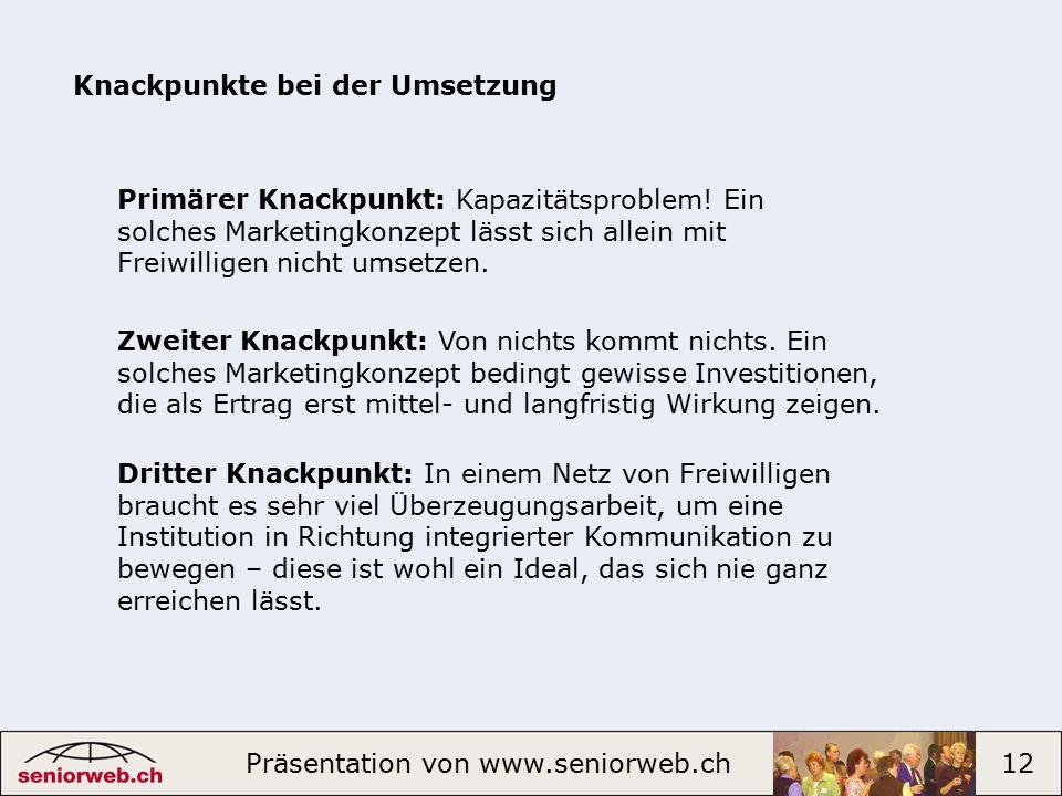 Präsentation von www.seniorweb.ch 12 Knackpunkte bei der Umsetzung Primärer Knackpunkt: Kapazitätsproblem.