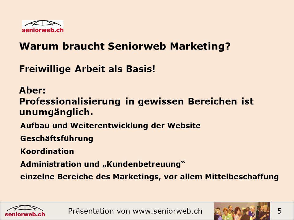 Warum braucht Seniorweb Marketing. Freiwillige Arbeit als Basis.
