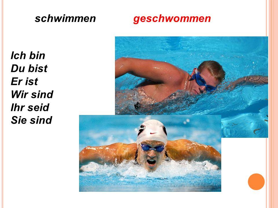 schwimmengeschwommen Ich bin Du bist Er ist Wir sind Ihr seid Sie sind