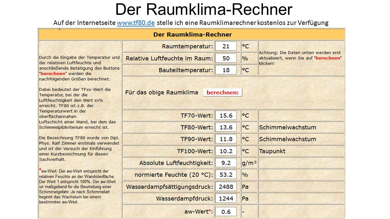 Der Raumklima-Rechner Auf der Internetseite www.tf80.de stelle ich eine Raumklimarechner kostenlos zur Verfügungwww.tf80.de