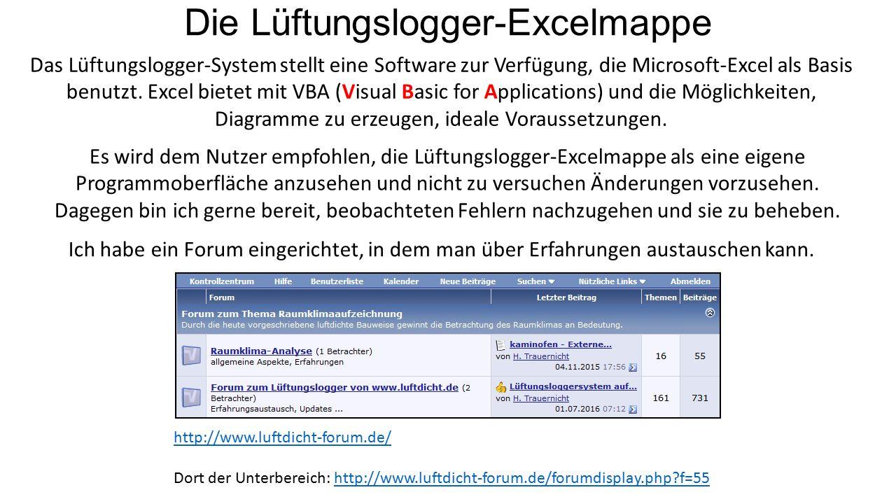 Die Lüftungslogger-Excelmappe Das Lüftungslogger-System stellt eine Software zur Verfügung, die Microsoft-Excel als Basis benutzt.