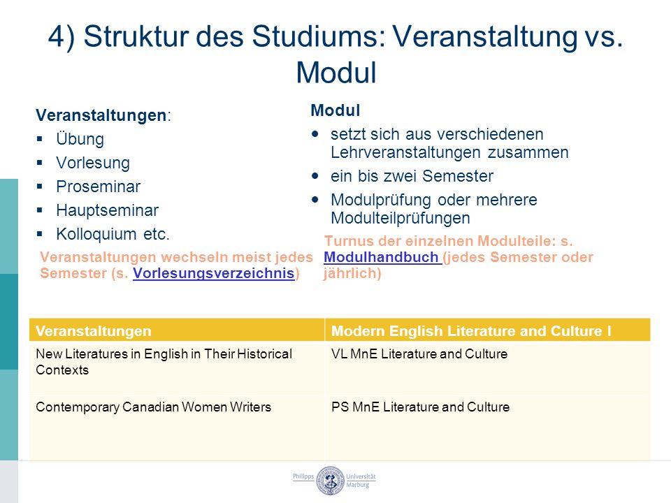 4) Struktur des Studiums: Veranstaltung vs.