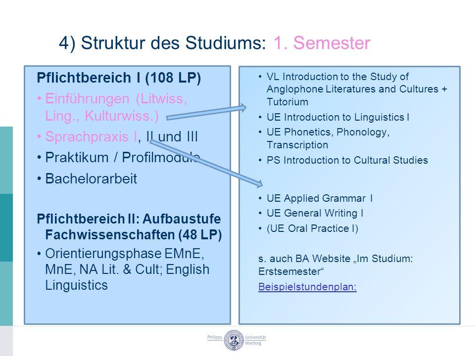 4) Struktur des Studiums: 1.