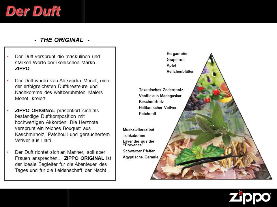 Der Duft versprüht die maskulinen und starken Werte der ikonischen Marke ZIPPO.