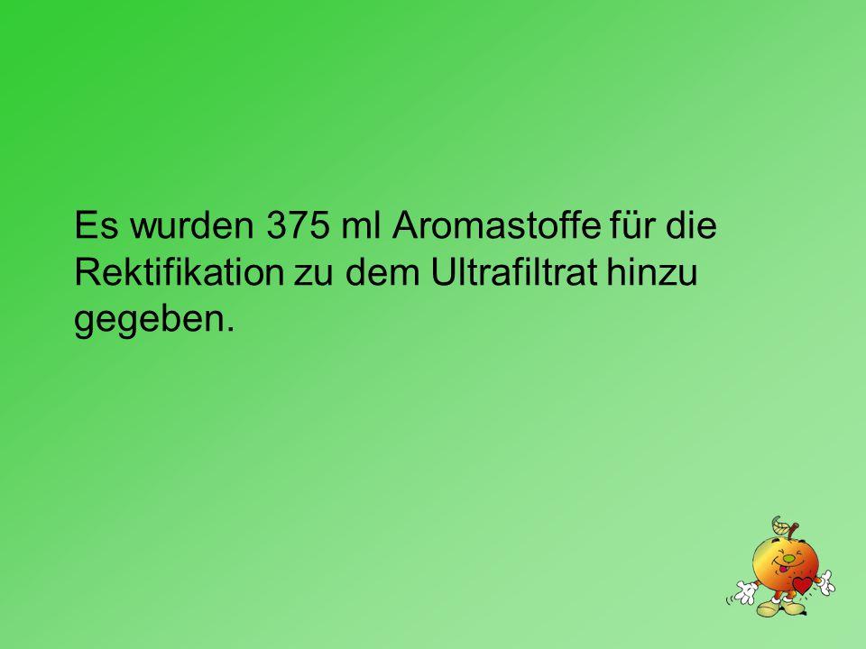 Es wurden 375 ml Aromastoffe für die Rektifikation zu dem Ultrafiltrat hinzu gegeben.