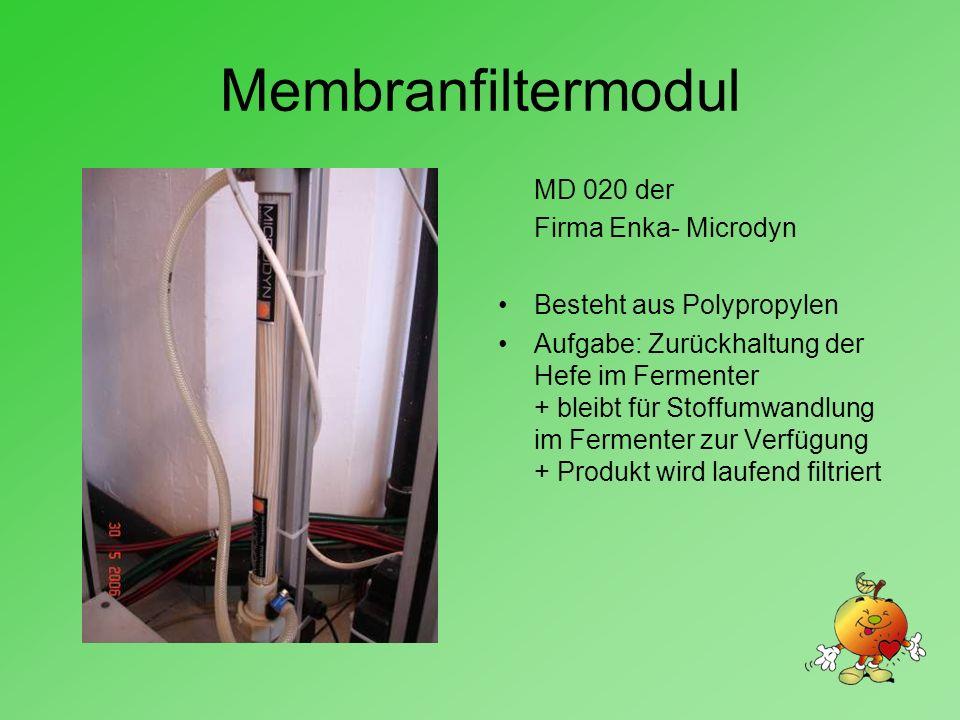 Membranfiltermodul MD 020 der Firma Enka- Microdyn Besteht aus Polypropylen Aufgabe: Zurückhaltung der Hefe im Fermenter + bleibt für Stoffumwandlung im Fermenter zur Verfügung + Produkt wird laufend filtriert