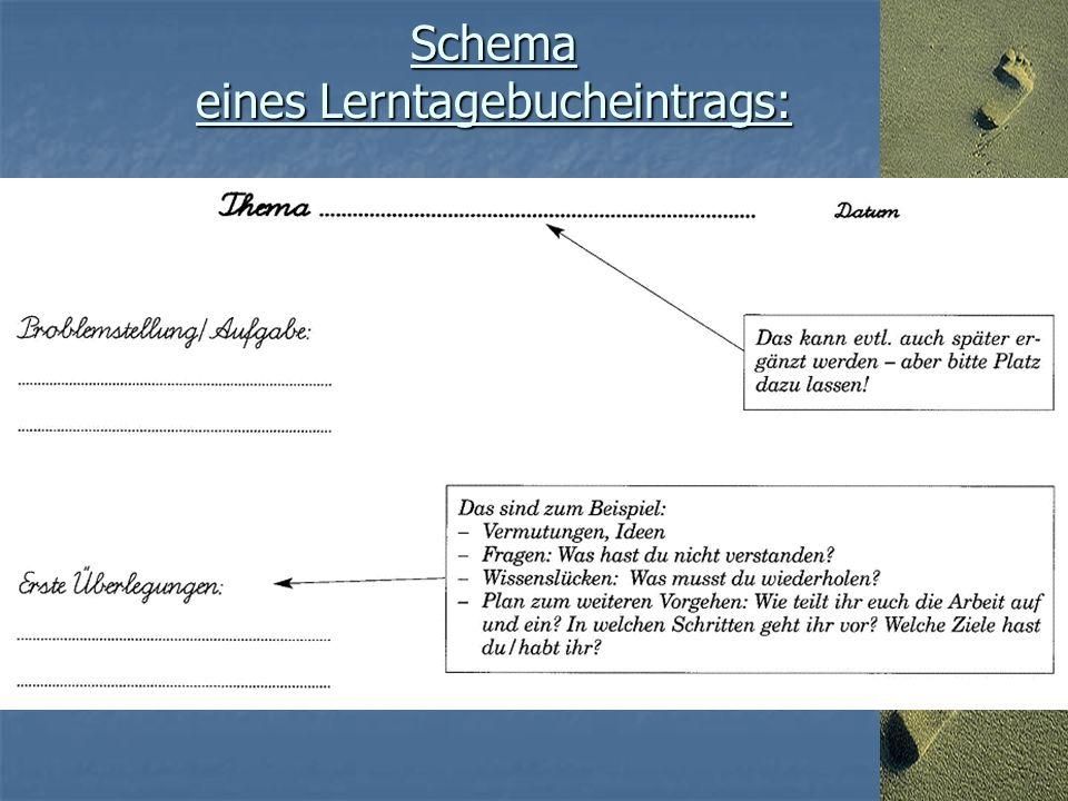Schema eines Lerntagebucheintrags: