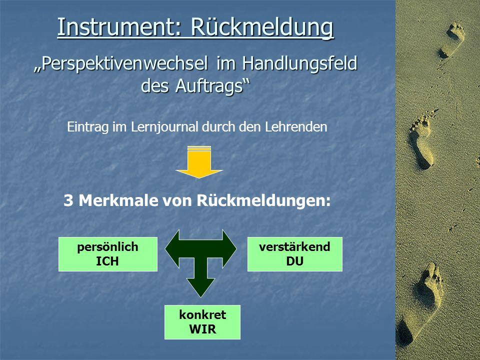"""Instrument: Rückmeldung """"Perspektivenwechsel im Handlungsfeld des Auftrags Eintrag im Lernjournal durch den Lehrenden 3 Merkmale von Rückmeldungen: verstärkend DU persönlich ICH konkret WIR"""