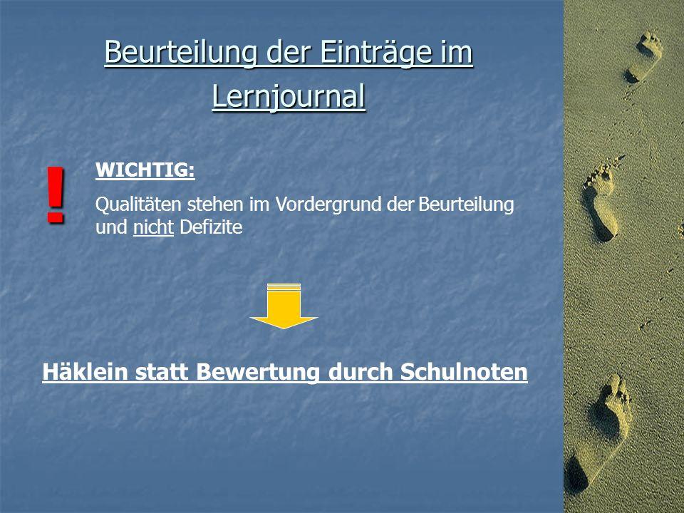 Beurteilung der Einträge im Lernjournal .