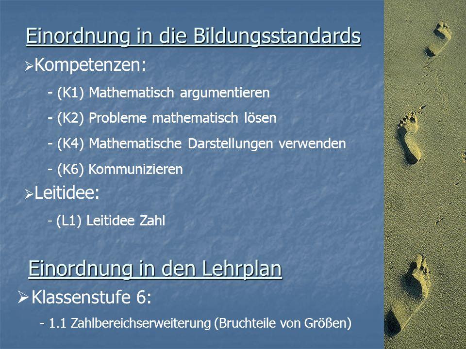 Einordnung in die Bildungsstandards  Kompetenzen: - (K1) Mathematisch argumentieren - (K2) Probleme mathematisch lösen - (K4) Mathematische Darstellungen verwenden - (K6) Kommunizieren  Leitidee: - (L1) Leitidee Zahl Einordnung in den Lehrplan  Klassenstufe 6: - 1.1 Zahlbereichserweiterung (Bruchteile von Größen)
