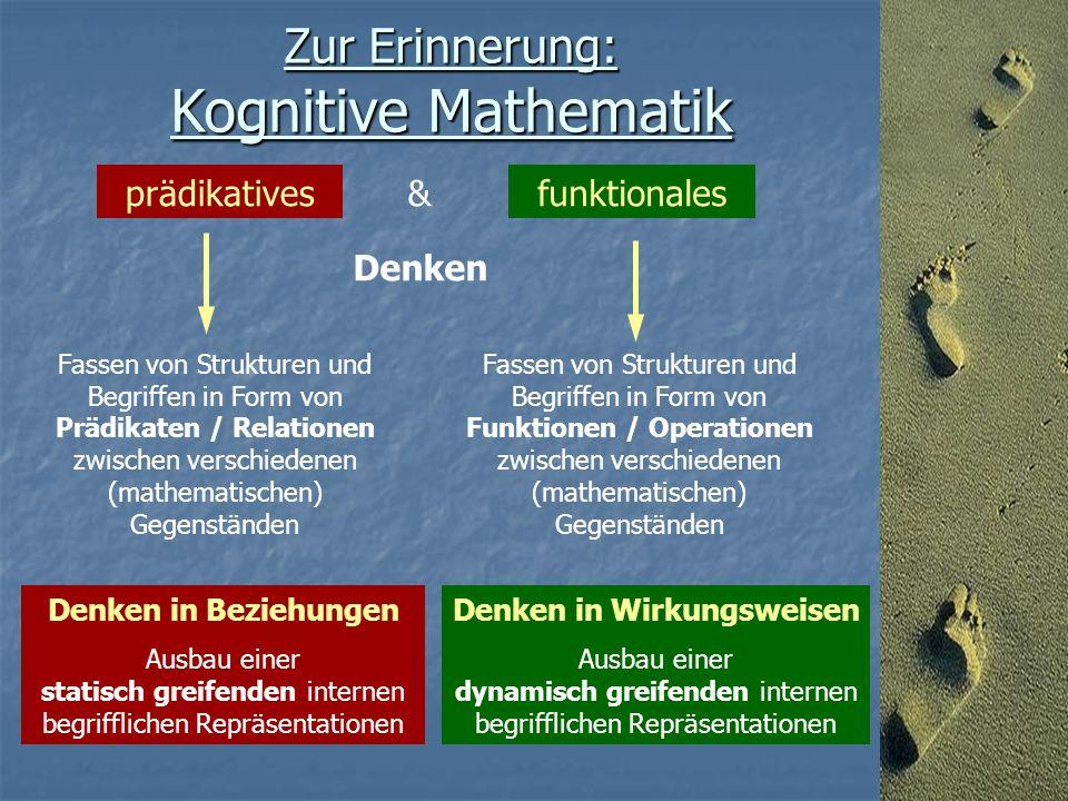 Zur Erinnerung: Kognitive Mathematik prädikatives& Denken funktionales Fassen von Strukturen und Begriffen in Form von Prädikaten / Relationen zwischen verschiedenen (mathematischen) Gegenständen Fassen von Strukturen und Begriffen in Form von Funktionen / Operationen zwischen verschiedenen (mathematischen) Gegenständen Denken in Beziehungen Ausbau einer statisch greifenden internen begrifflichen Repräsentationen Denken in Wirkungsweisen Ausbau einer dynamisch greifenden internen begrifflichen Repräsentationen