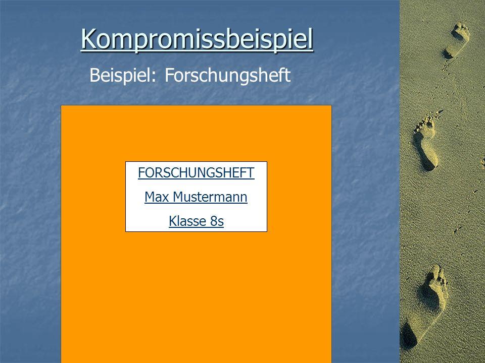 Kompromissbeispiel Beispiel: Forschungsheft FORSCHUNGSHEFT Max Mustermann Klasse 8s