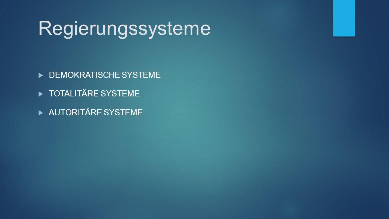 Regierungssysteme  DEMOKRATISCHE SYSTEME  TOTALITÄRE SYSTEME  AUTORITÄRE SYSTEME