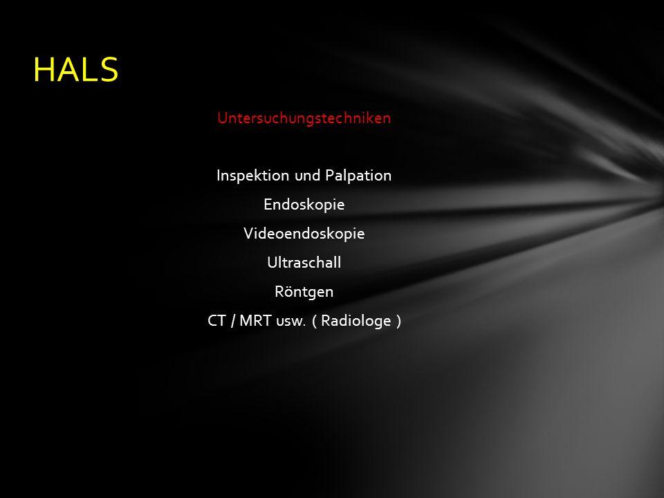 Untersuchungstechniken Inspektion und Palpation Endoskopie Videoendoskopie Ultraschall Röntgen CT / MRT usw.