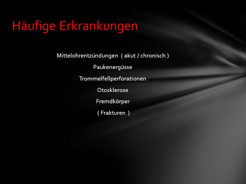 Mittelohrentzündungen ( akut / chronisch ) Paukenergüsse Trommelfellperforationen Otosklerose Fremdkörper ( Frakturen ) Häufige Erkrankungen