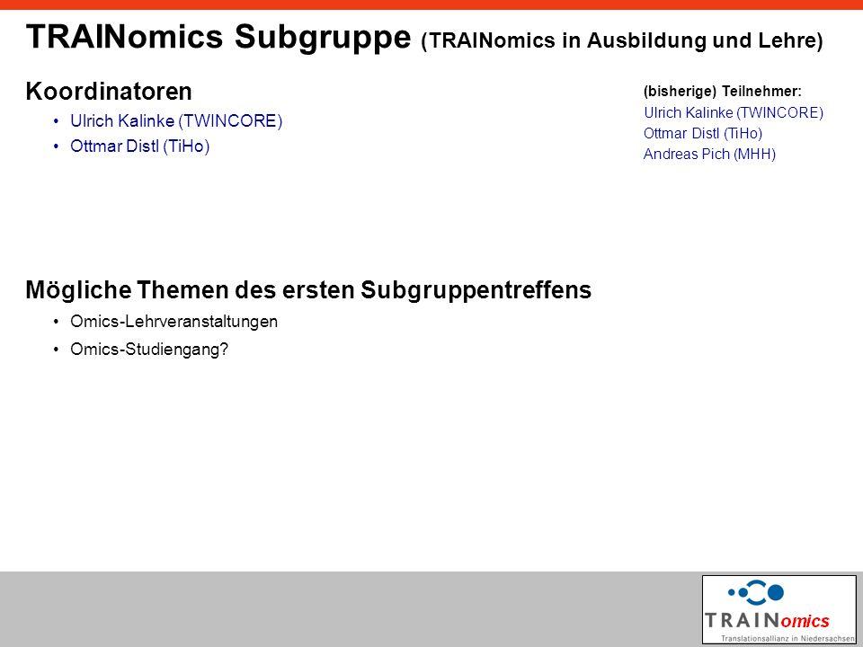 TRAINomics Subgruppe (TRAINomics in Ausbildung und Lehre) Koordinatoren Ulrich Kalinke (TWINCORE) Mögliche Themen des ersten Subgruppentreffens Omics-Lehrveranstaltungen Omics-Studiengang.