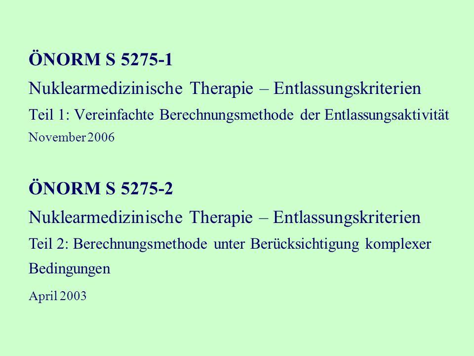 ÖNORM S 5275-1 Nuklearmedizinische Therapie – Entlassungskriterien Teil 1: Vereinfachte Berechnungsmethode der Entlassungsaktivität November 2006 ÖNORM S 5275-2 Nuklearmedizinische Therapie – Entlassungskriterien Teil 2: Berechnungsmethode unter Berücksichtigung komplexer Bedingungen April 2003