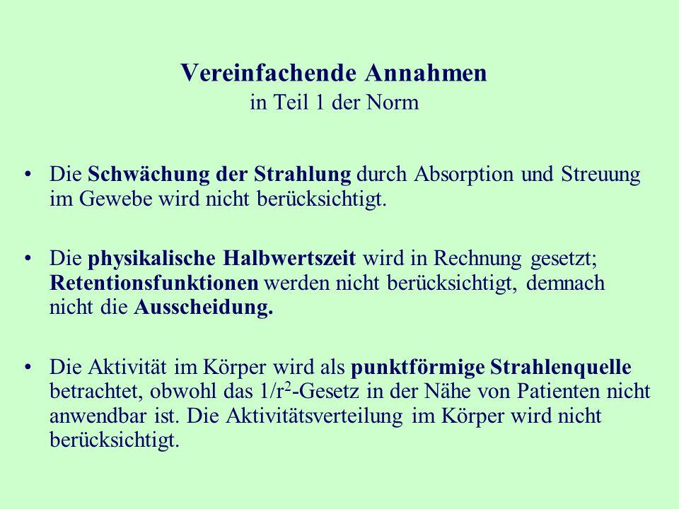 Vereinfachende Annahmen in Teil 1 der Norm Die Schwächung der Strahlung durch Absorption und Streuung im Gewebe wird nicht berücksichtigt.