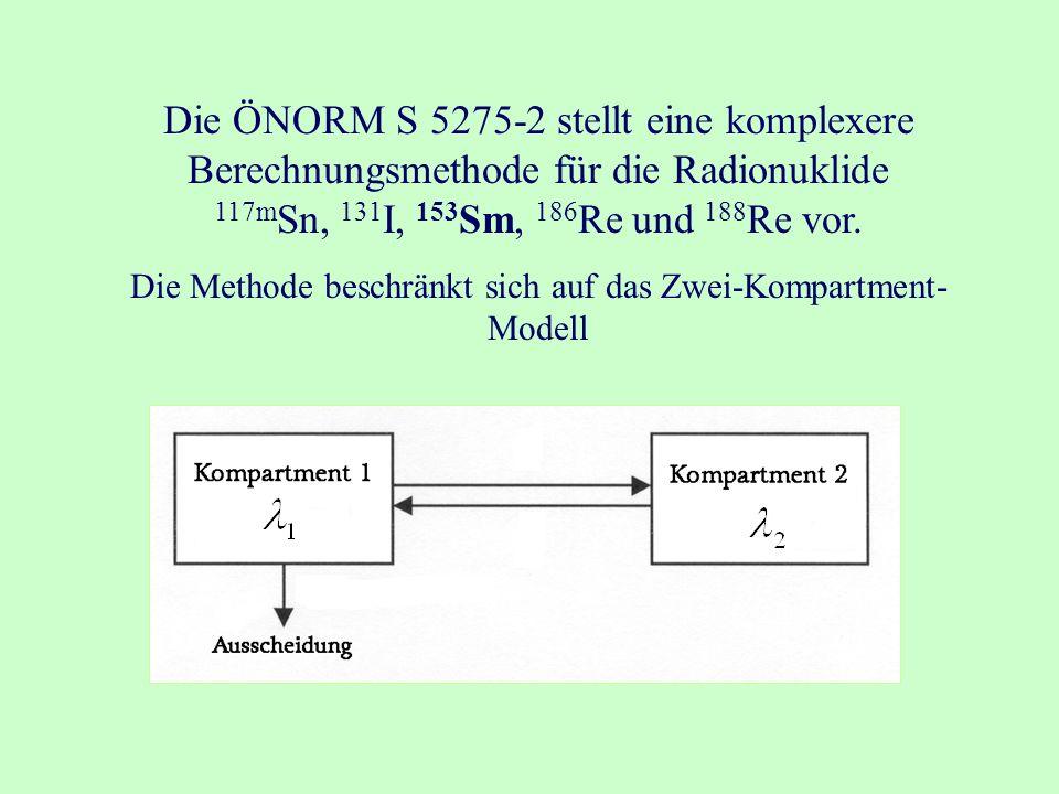 Die ÖNORM S 5275-2 stellt eine komplexere Berechnungsmethode für die Radionuklide 117m Sn, 131 I, 153 Sm, 186 Re und 188 Re vor.