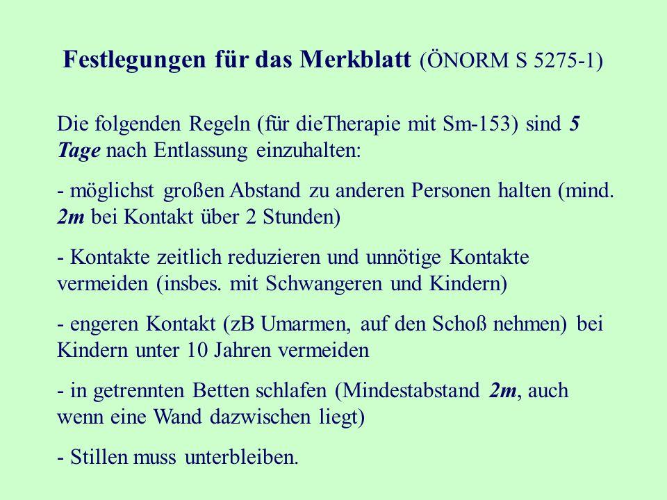 Festlegungen für das Merkblatt (ÖNORM S 5275-1) Die folgenden Regeln (für dieTherapie mit Sm-153) sind 5 Tage nach Entlassung einzuhalten: - möglichst großen Abstand zu anderen Personen halten (mind.