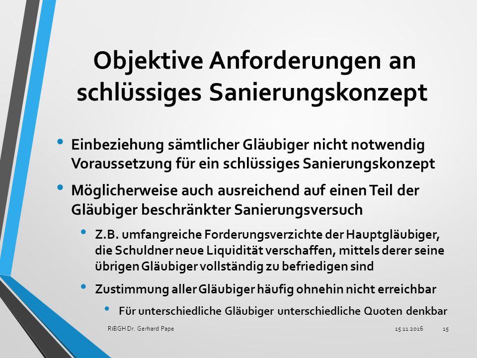 Objektive Anforderungen an schlüssiges Sanierungskonzept Einbeziehung sämtlicher Gläubiger nicht notwendig Voraussetzung für ein schlüssiges Sanierungskonzept Möglicherweise auch ausreichend auf einen Teil der Gläubiger beschränkter Sanierungsversuch Z.B.