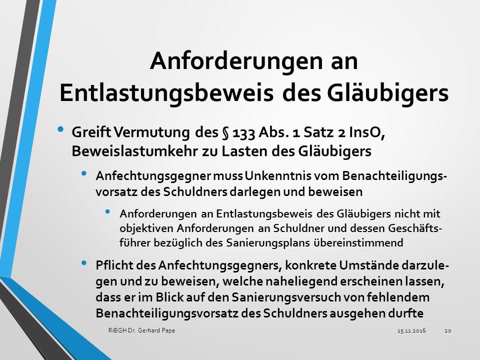 Anforderungen an Entlastungsbeweis des Gläubigers Greift Vermutung des § 133 Abs.