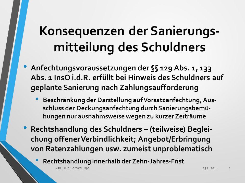 Konsequenzen der Sanierungs- mitteilung des Schuldners Anfechtungsvoraussetzungen der §§ 129 Abs.