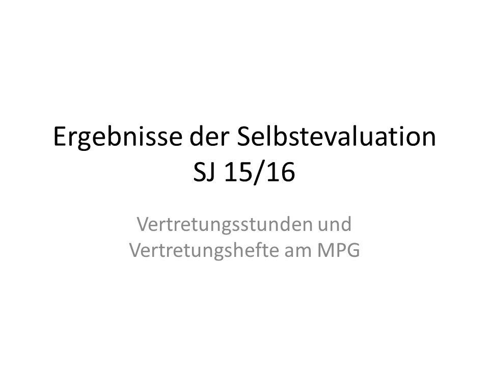 Ergebnisse der Selbstevaluation SJ 15/16 Vertretungsstunden und Vertretungshefte am MPG