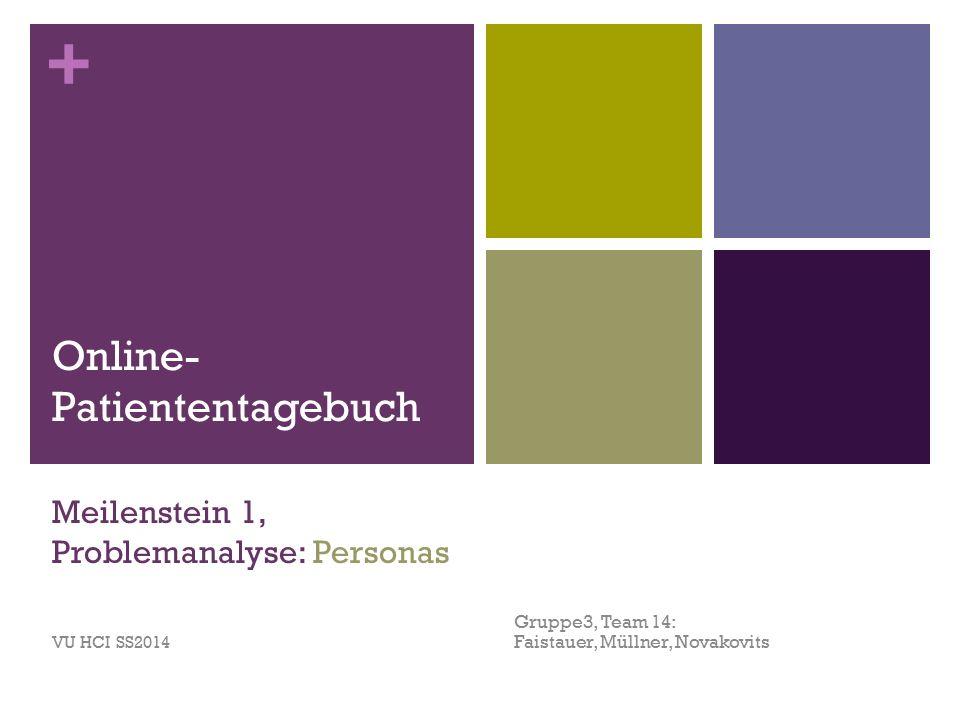 + Meilenstein 1, Problemanalyse: Personas Gruppe3, Team 14: Faistauer, Müllner, Novakovits VU HCI SS2014 Online- Patiententagebuch