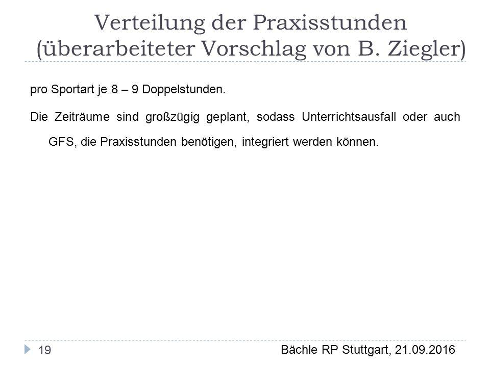 Bächle RP Stuttgart, 21.09.2016 Verteilung der Praxisstunden (überarbeiteter Vorschlag von B.